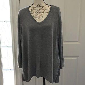 Lane Bryant Gray Knit Pleated Sweater